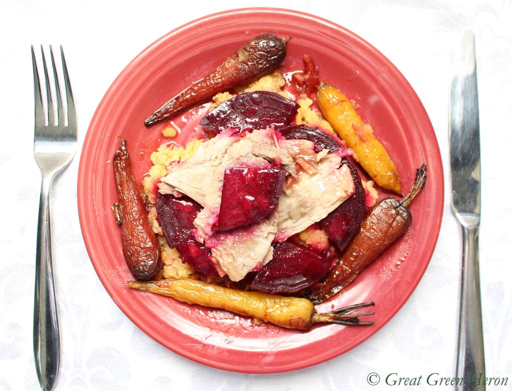 Roast Duck, Beets, and Carrots with Homemade Blood Orange Sauce