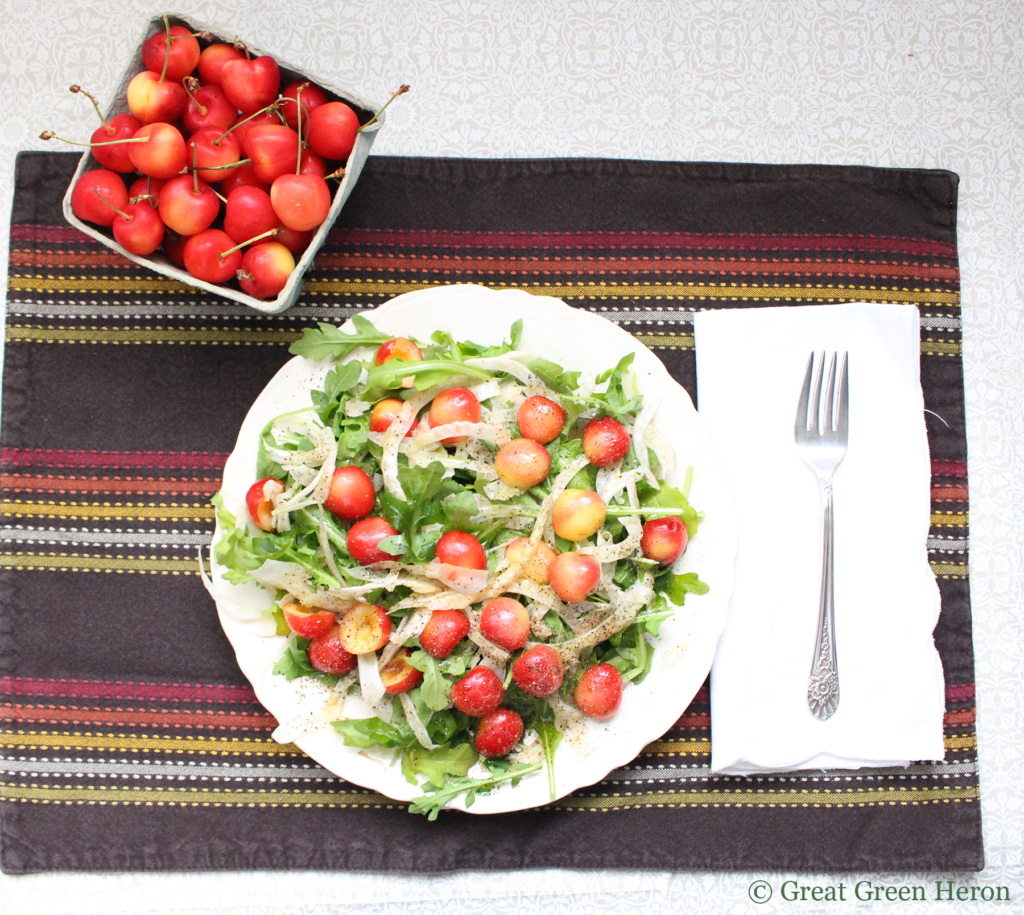 Arugula and Shaved Fennel Salad with Rainier Cherries and Tangy Red Wine Vinaigrette